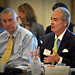 Duke Energy CEO Jim Rogers (r) leads off the discussion as SAS owner Dr. Jim Goodnight listens.