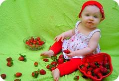 Sophia and strawberries (Giovana Ceregatto) Tags: red baby girl beautiful strawberry strawberries vermelho babygirl linda blonde beb filha morango sophia morangos loira 8months nen loirinha 8meses filhinha giovanaceregatto sophiaceregattomangini