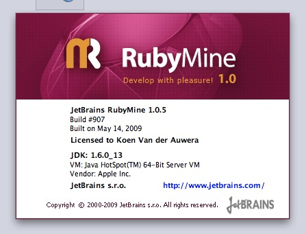 RubyMine about screen