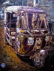 C215 - New Delhi Rickshaw (C215) Tags: new india streetart art yellow night french graffiti stencil purple delhi christian bagh cristian karol lighted pochoir masacara szablon c215 schablon gumy piantillas