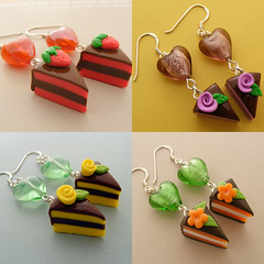 I  Cake Earrings (Shay Aaron) Tags: food ice coffee cake miniature whimsy handmade chocolate cream fake mini jewelry polymerclay clay apricot wafer bonbon waffle geekery           foodjewelry  shayaaron