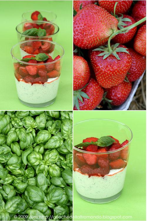 Bicchierini fragole, basilico e lime