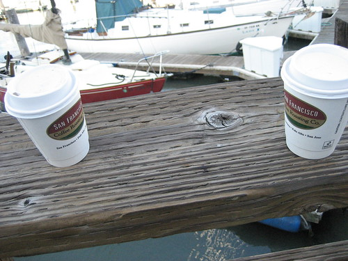 Two cups of coffee at Fishermans Wharf