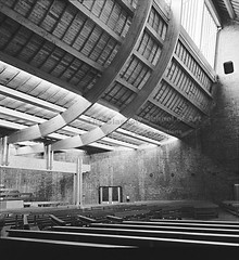 GKC/CHDU/2/2/1 St Benedict's, Drumchapel, Glasgow - 1970 (Glasgow School of Art Archives & Library) Tags: school light art andy st architecture scotland doors roman timber glasgow interior centre united churches kingdom architectural nave photographs collections archives practice kidd catholicism gillespie firm pews gkc macmillan modernist isi benedicts gillespiekiddandcoia drumchapel metzstein coia clerestory blackandwhitephotographs workingarchive