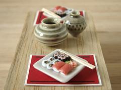 Miniature Sushi For 2 (PetitPlat - Stephanie Kilgast) Tags: world fish japan sushi miniatures foods maki polymerclay fimo 112 dollhouse dollshouse miniaturefood oneinchscale petitplat