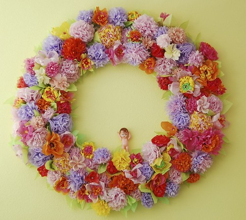 Tissue paper flower wreath a photo on flickriver tissue paper flower wreath mightylinksfo