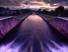 Sunrise over Muirtown Lock Gates, Caledonian Canal - Inverness (freeskiing) Tags: longexposure summer clouds sunrise scotland highlands moody july explore inverness gloaming lockgate sigma1020mm dramaticcloud caledoniancanal highlandsofscotland ndgrad09 benthorburn nd8water