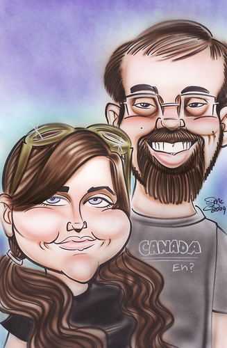 Caricature of Jamie and William.