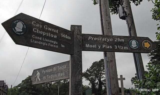 Mileage marker at Llandegla