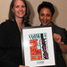 Kristine Thompson of Calvary Women's Services and Sheila Johnson showing her Hope Award, created by women at Calvary Women's Shelter.