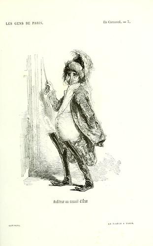 002-En Carnaval-auditor en el consejo de estado-dibujado por Gavarni