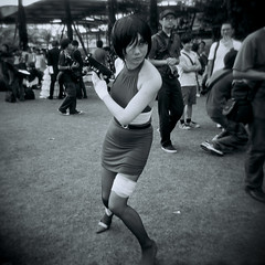 Watch and shoot (Sean Lowcay (sealow08)) Tags: street people bw anime girl japanese costume holga lomo lomography singapore asia cosplay cartoon holga120cfn cosfest cosfest8