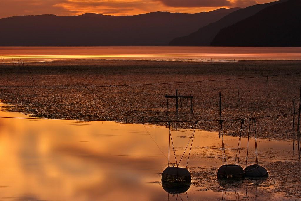 The Sunset Time of Lake Biwa