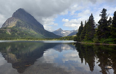 Swiftcurrent Lake Reflection 4760 (Light of the Moon Photography) Tags: mountains nature rockies outdoors rocks hills cascades range