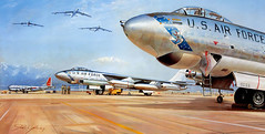 Boeing-B-47--on-the-tarmac -John Young (x-ray delta one) Tags: illustration america advertising poster media russia propaganda space aircraft nazis hitler sac nuclear nasa nostalgia 1950s ww2 americana 1960s boeing civildefense capitalism bigbrother outerspace tomorrowland atomic populuxe nato leningrad stalin coldwar thefuture worldwar2 aerospace atomicbomb ussr worldwar1 icbm worldoftomorrow strategicaircommand communisim departmentofenergy spacerace spaceexploration magazineillustration ww3 b47 worldwar3 greatpatrioticwar stratojet atomicwar warsawpact hydrogenbomb robertmccall thermonuclearwar kiloton nucleardeterent atomicannihilation