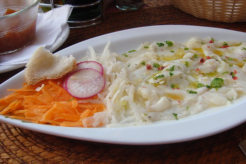Amazing ceviche with habanero jelly at Los Pelicanos, Holbox, Mexico.