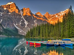 Color Overload (Matt Champlin) Tags: life morning travel lake snow canada mountains ice nature colors still rainbow north canoes alberta glaciers banff crayon peaks lakelouise stillness hdr banffnationalpark morainelake valleyofthetenpeaks coolpictures coolcolors tenpeaks