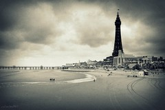 (andrewlee1967) Tags: uk sea england people beach coast pier seaside waves britain flag tracks lancashire gb blackpool ricoh funland goldenmile blackpooltower andrewlee andrewlee1967 capliogx100 nottheeiffeltower besidestheseasidebesidethesea