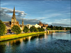 Cities of Scotland - Inverness (jackfre2) Tags: city bridge blue trees sky green castle church water clouds buildings river scotland george highlands cityscape riverside fort spires churches historic spire lochness inverness ness nessie nairn riverness platinumheartaward