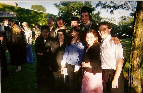 Sip, Jim, Will, Steve, Min, Kat, Arielle, me, and Tim at the 2004 NU Speech commencement