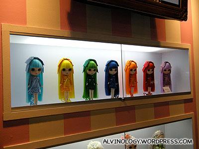 Bright neon coloured Blythe dolls