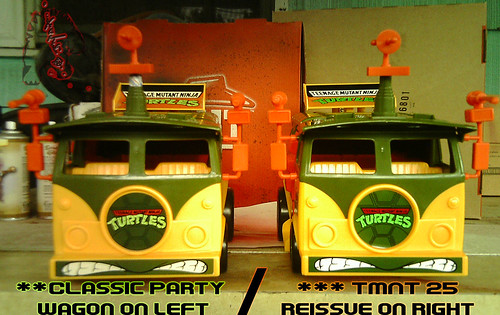 The tOkKa junkyard Car Show :: Classic Party Wagon vs. TMNT 25 Reissue //  side by side