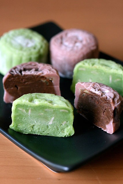 Green tea and Chocolate snowskin mooncakes
