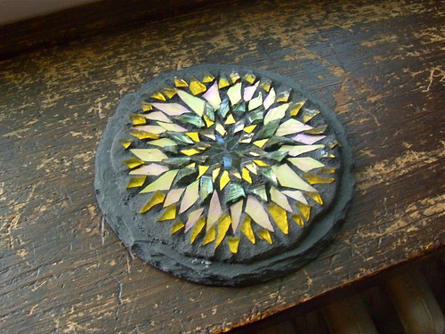 yellow sunflower mandala: a glass mosaic by Margaret Almon