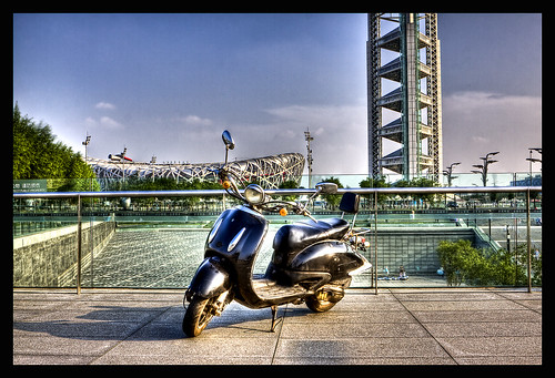 3985373450 3ba3f69cd0 My Motorbike in HDR with Birds Nest Stadium in the Back