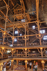 "Old Faithful Inn lobby interior - a log hotel in Yellowstone NP (IronRodArt - Royce Bair (""Star Shooter"")) Tags: park old vacation building robert architecture america hotel log inn interior lodging rustic logs warmth tourist structure resort lobby national americana yellowstone wyoming faithful reamer oldfaithfulinn"