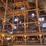 Old Faithful Inn lobby interior - a log hotel in Yellowstone NP