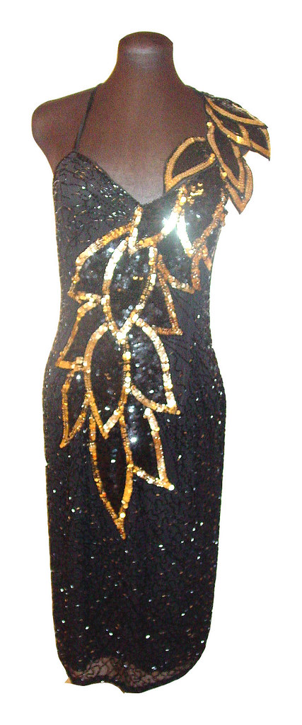 Vintage 1980s cocktail formal dress sequins and beads black and gold Size 12