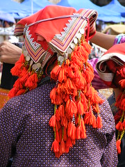 Red Dzao woman with headress. (young shanahan) Tags: vietnam sapa traditionaldress headress northernvietnam reddzao