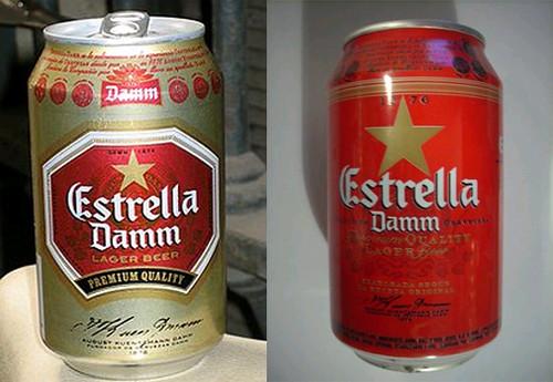 lata de estrella damm antigua, de color dorada; y lata nueva, de color rojo