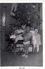 Christmas 1960 (Ursula the Sea Witch) Tags: christmas family blackandwhite bw tree doll tricycle larry presents 1960s 1960 castroville hallam roll271d