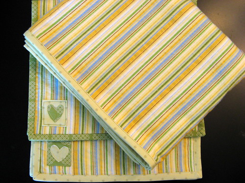 stripe baby blanket and burp cloth