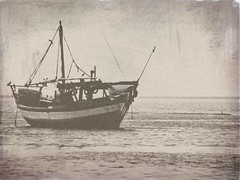 (Shrf AlMalki..) Tags: old blue sea white black beach boat ship sail