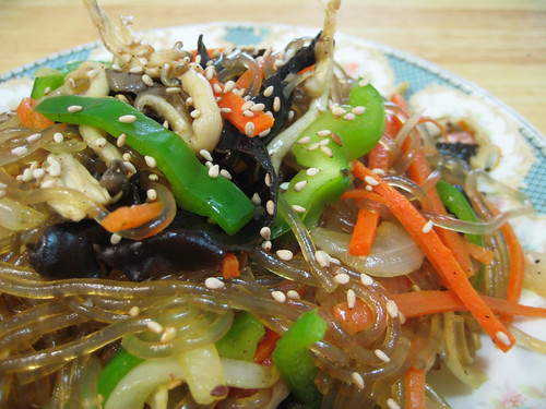 Vegan Korean Japchae noodles