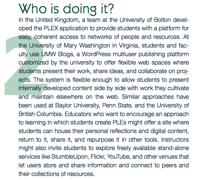 UMW Blogs featured in Educause's 7 Things on PLE