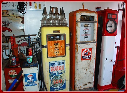 Old Gas Pumps Inside Pete s Gas Station Museum on Route 66 in Williams    Old Gas Station Pump