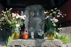 The Oshare Jizo in Fujisawa Shuku on the Old Tokaido (only1tanuki) Tags: sculpture monument japan stone japanese jizo dosojin tokaido repaired ojizo oshare jizosama kanagawaprefecture oldtokaido fujisawacity needtotranslate fujisawashuku