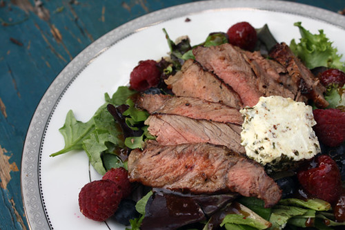 Summertime Salad: Steak, Berries and Goat Cheese with Apricot-Balsamic Vinaigrette 1