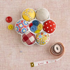 May Giveaway Day - Pincushion (rashida coleman-hale) Tags: love day heart linen may sew mama badge giveaway pincushion patchwork
