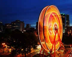 Ferris' Wheel (Zeb Andrews) Tags: city carnival blue urban color film night oregon portland twilight dusk kodakportra400vc pacificnorthwest ferriswheel amusementpark rides rosefestival pentax6x7 bluemooncamera zebandrews zebandrewsphotography