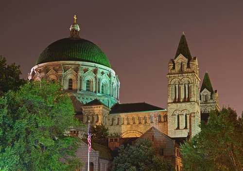 Cathedral Basilica of Saint Louis, in Saint Louis, Missouri, USA - exterior side at night