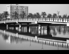 bridge reflections (cosmopolitan photography) Tags: bridge blackandwhite water reflections capetown woodbridgeisland cosmopolitanphotography
