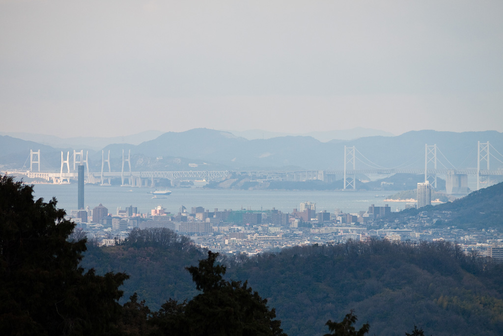 distant view of Seto-Ohashi Bridge