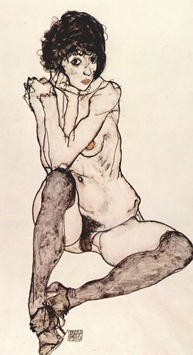 Sitting female nude by Egon Schiele by Anne Maya Paszek