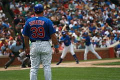 Sinatro watches the 17mil man (mikepix) Tags: chicago baseball cleveland indians cubs wrigleyfield 2009 bullpinbox