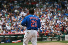 Bradley on Base (mikepix) Tags: chicago baseball cleveland indians cubs wrigleyfield 2009 bullpinbox
